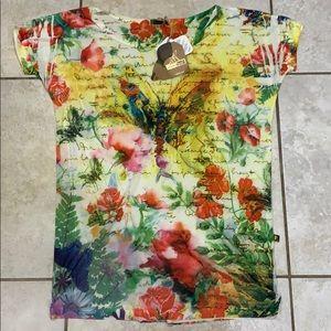 Areia E Mel Desigual Butterfly Tunic Tee Shirt L